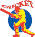 Cricket player batsman batting retro Stock Image