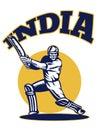 Cricket player batsman batting retro India Stock Photography