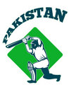 Cricket player batsman batting retro Pakistan Stock Photos