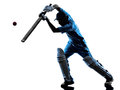 Cricket player  batsman silhouette Royalty Free Stock Photo
