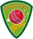 Cricket sport ball shield Royalty Free Stock Photo