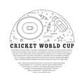 Cricket sport game graphic design concept flyer poster with symbols and objects in circle with place for text vector template with Stock Images