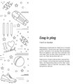Cricket sport game graphic design concept flyer poster with symbols and objects and with place for text vector template with Stock Photo