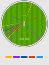 Cricket sports concept with different positions of shots statistics showing by colors on stadium background Stock Image