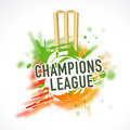 Cricket sports concept with wicket stumps and bails text champions league on color splash background Stock Images