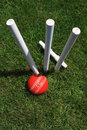 Cricket Stumps, Bail and Ball Stock Photography