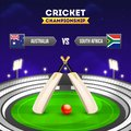 Cricket tournament participant country Australia vs South Africa with illustration of cricket equipments on night stadium