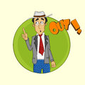 Cricket umpire showing out sports concept with cartoon of an Royalty Free Stock Photo