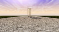 Cricket wickets on pitch horizon the length of a cracked with white markings a purple and orange sky background with wooden set up Royalty Free Stock Photo