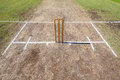Cricket wickets playing pitch grounds placed and white line creases ready for sporting game on Stock Photos