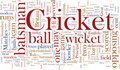 Cricket word cloud Royalty Free Stock Photo