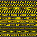 Crime accident scene caution, warning police vector grungy yellow and black tapes