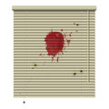 Crime blinds new isolated jalousie icon with blood stains and bullet hole Stock Photo