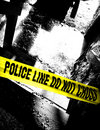 Crime cross do line not police scene tape Стоковые Фото