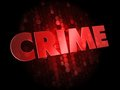 Crime on dark digital background red color text Stock Images