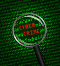 Crime de cyber indiqué en code machine d ordinateur par un magnifyi Photos libres de droits