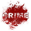 Crime messy blot text in white written on a bloody spatter Stock Image