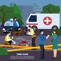 Crime Scene Flat Style Illustration Royalty Free Stock Photo
