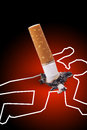 Crime scene - man killed by a cigarette Stock Image
