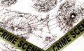 Crime scene police tape across broken glass windows Royalty Free Stock Photos