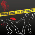 Crime scene tape corpse chalk outline Royalty Free Stock Images