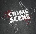Crime scene violent murder homicide forbidden area words on a chalk outline of a dead body or or victim to close an for Stock Photos