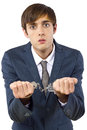 Crime young caucasian male arrested for tax evasion Stock Photos