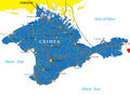 Crimea map highly detailed vector of with administrative regions main cities and roads Stock Images