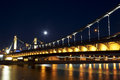Crimean bridge at night moscow a suspension in passes through the river and was opened on may Stock Image