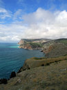 The crimean coast of black see near balaklava in spring day Royalty Free Stock Photos