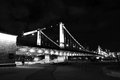 Crimean krymsky bridge in moscow night view over the river popular touristic landmark city center taken on black Royalty Free Stock Photos