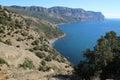 Crimean mountains near balaklava sevastopol cape aya as seen from genoese fortress cembalo ukraine Stock Photo