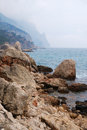 Crimean seashore in off season cheerless seascape is photographed low Royalty Free Stock Images