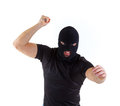 Criminal with balaclava knife on white background Royalty Free Stock Photography