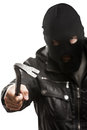 Criminal burglar man in mask holding crowbar Royalty Free Stock Photography