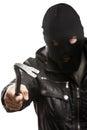Criminal burglar man in mask holding crowbar Royalty Free Stock Photo
