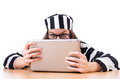 Criminal hacker with laptop on white Royalty Free Stock Images