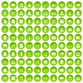 100 criminal offence icons set green circle