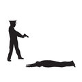 Criminal offender and police officer black silhouettes on a white background elements for design Royalty Free Stock Image