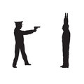 Criminal offender and police officer black silhouettes on a white background elements for design Stock Photos