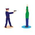 Criminal offender and police officer illustration elements for design Stock Image
