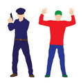 Criminal offender and police officer illustration elements for design Royalty Free Stock Images