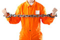 Criminel dans la robe longue orange en prison Photographie stock libre de droits