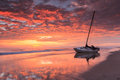 Crimson coastal sunrise north carolina landscape of on the coast with beached boat near pea island in autumn Royalty Free Stock Photography