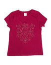Crimson female T-shirt with a pattern. Isolate