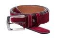 Crimson men leather belt isolated on white Royalty Free Stock Photo