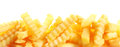 Crinkle cut fried potato chips banner golden or french fries over white with advertising copyspace in a fast food and takeaway Stock Photo