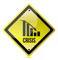 Crisis ahead graph yellow traffic sign illustratio Royalty Free Stock Images