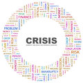 Crisis background concept wordcloud illustration print concept word cloud graphic collage Royalty Free Stock Photo