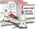 Crisis center it is a monosyllabic building Stock Images